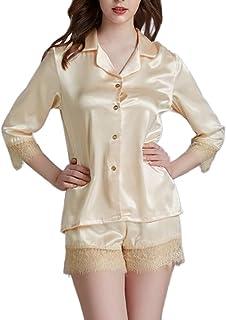 E-girl Pijama para mujer, juego de 2 piezas, parte superior de pijama, pantalones cortos de pijama de fibra regenerada, su...