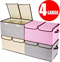 """Larger Storage Cubes [4-Pack] Senbowe Linen Fabric Foldable Collapsible Storage Cube Bin Organizer Basket with Lid, Handles, Removable Divider For Home, Nursery, Closet - (17.7 x 11.8 x 9.8"""")"""