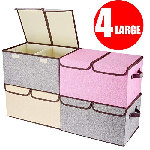 """Larger Storage Cubes 4Pack Senbowe Linen Fabric Foldable Collapsible Storage Cube Bin Organizer Basket with Lid Handles Removable Divider For Home Nursery Closet  177 x 118 x 98"""""""