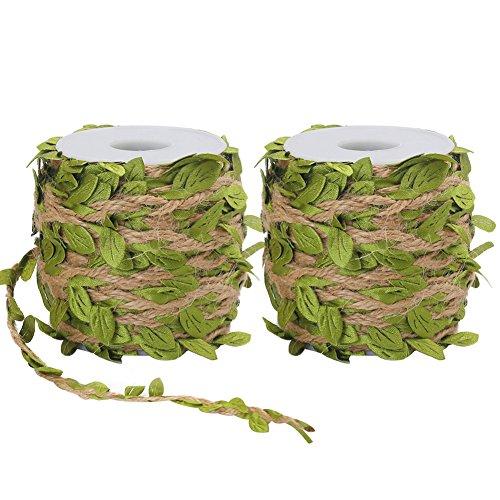 Tenn Well Cinta de hoja de arpillera, 0.197in, cuerda de yute con hojas artificiales para manualidades, bodas, fiestas de selva (2 unidades x 66 pies)