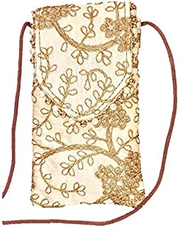 Yamuna Creations Silk Saree Clutch Mobile Waist Clip Ladies Purse Gift for Women & Girls with Motis and Embroidery Work (O...