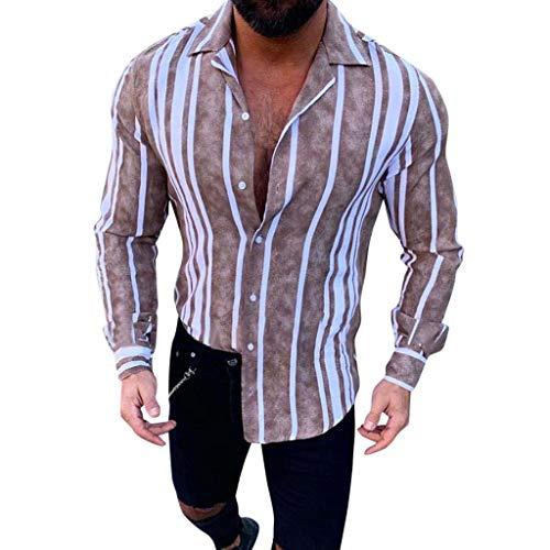 CAOQAO Camisas Hombre Raya Ajustado Manga Larga Solapa botn Cremallera
