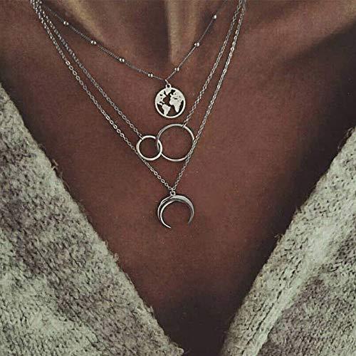 Yienate Mehrschichtige Halskette mit Mond-Legierung, Kreis, Karte, Anhänger, Perlen, Choker, Mode, Layered Halsketten, Schlüsselbeinkette, Schmuck für Frauen und Mädchen (Silber)
