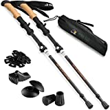 Ryno Tuff Trekking Poles, Durable Carbon Fiber Hiking Pole with Natural Cork Handle and Extended EVA Grips, Ultralight, Expandable, Collapsible, Foldable, Set of 2 Walking Sticks