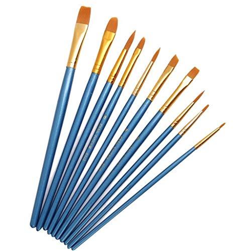 Zeagro - Juego de Pinceles de Pintura, Punta Redonda de Nailon, Pinceles acrílicos, Pinceles Finos para Acuarela, acrílicos, Suministros de Pintura al óleo (10 Unidades), Color Azul