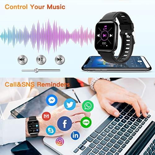 CanMixs Smartwatch Reloj Inteligente IP68 con Pantalla Táctil de 1.54'',Pulsera Actividad Inteligente Hombre Mujer Reloj Deportivo con Monitor de Sueño Contador de Caloría Pulsómetros para Android iOS miniatura