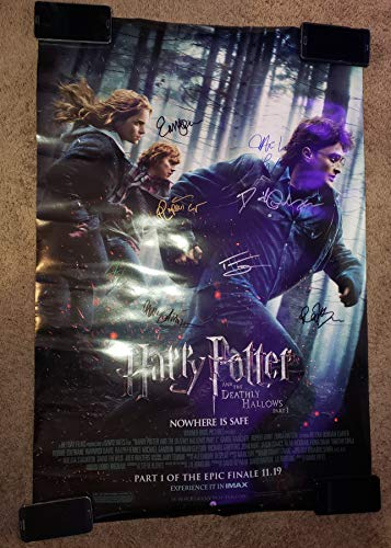 HARRY POTTER AND THE DEATHLY HALLOWS - 8x Autographed Signed 27x40 inch Double Sided Poster - DANIEL RADCLIFFE EMMA WATSON RUPERT GRINT