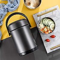 304ステンレスランチボックス多層熱真空断熱食品保存バケツハンドルサーモスサーモス断熱バケット(1.2L / 1.6L / 2L),グレー,1.2L