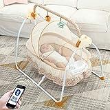 Cuna eléctrica para bebé de versión ampliada, multifuncional, columpio automático plegable con 3 velocidades de balancín, cuna desmontable para juguetes (caqui)