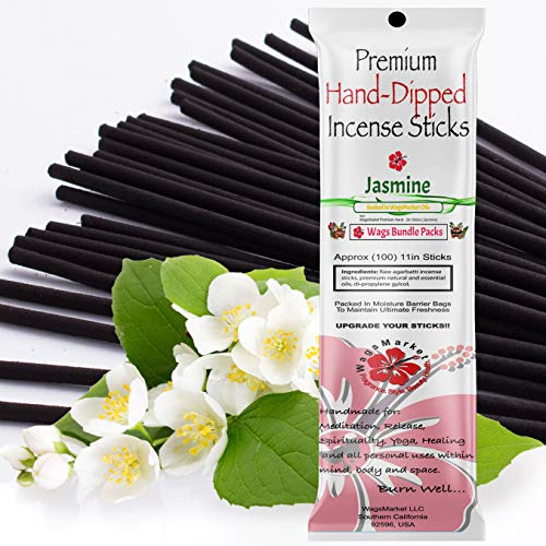 WagsMarket Premium Hand Dipped Incense Sticks, You Choose The Scent. 100-12in Sticks. (Jasmine)