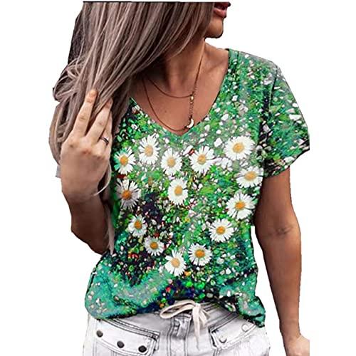 SLYZ Mujeres Europeas Y Americanas, Moda De Verano, Amor, Estampado con Cuello En V, Camiseta De Manga Corta, Top Mujeres