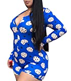 Womens Plus Size Deep V Neck Shorts Bodycon Romper, Sexy Long Sleeve Printed Button Jumpsuit One Piece Bodysuit Pajama Overall (Blue, XL)