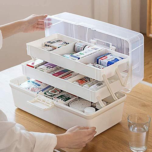 Yiyu Hausapotheke Box Groß Medikamentenbox Abschließbar Medizinschränke Medizinbox Medikamenten Box Aufbewahrungsbox Für Hause Und Urlaub x (Color : White)