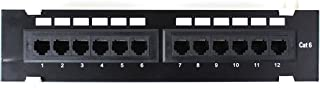 OUTERDO 12-Port Cat6 Wall Mount Patch Panel 110 Patch Panel with Mounting Bracket