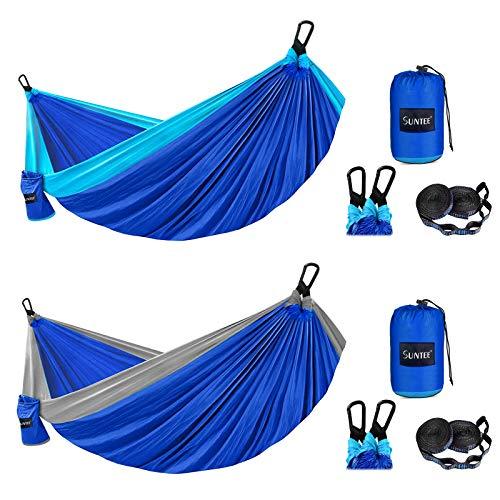 2 Pack Camping Hammock Double & Single, Lightweight Nylon Parachute...
