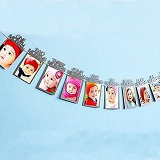 Fontee Baby Portafotos nacimiento infantil 12 meses marco infantil guirnalda de pancartas para el primer cumpleaños, decoraciones de la fiesta de bienvenida al bebé, decoraciones para fiestas