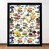 Proceso de impresión mural Seta con tipos de setas Especies silvestres Alimentos orgánicos naturales Decoración de jardín Estudio dormitorio Sala de estar