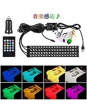 WenTop 車 72LED RGB テープライト USB式 防水 高輝度 3M両面テープ イルミネーション 全8色 リモコンとカーチャージャー付き 音に反応サウンドセンサー内蔵 足下照明 車内装飾用