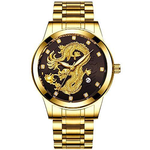Powzz ornament Reloj clásico chino de alivio del dragón de oro reloj de acero de la banda de cuarzo reloj de oro negro