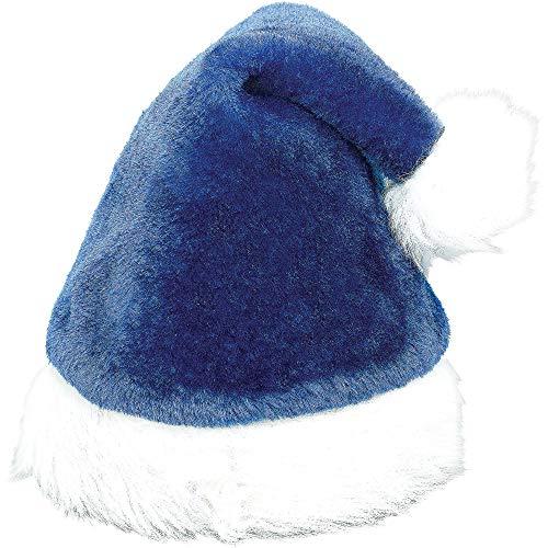 Amscan 395019 Deluxe Santa Plush Fabric Hat Costume, Blue