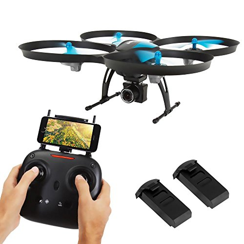 SereneLife WiFi FPV Drone with HD Camera and live Video. Headless Mode Quadcopter, Altitude Hold, 1-Key Takeoff/Landing, Bonus Battery, Low Voltage Alarm, Custom Route Mode, 15 Minutes Flight Time