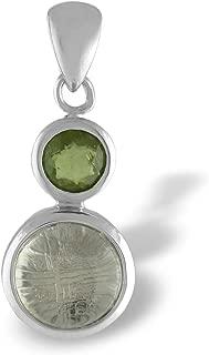Starborn Sterling Silver Moldavite Muonionalusta Meteorite Prism Pendant