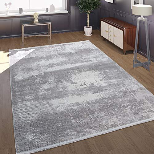 Paco Home Tapis, Poils Ras pour Salon, Aspect Béton, Look 3D, Brillant Gris, Dimension:160x230 cm