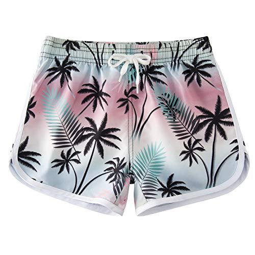 Idgreatim Pantalones cortos para niñas, pantalones cortos, de secado rápido, para playa, para correr, para playa, para deporte, informal, para verano, con cordón, 4 a 9 años