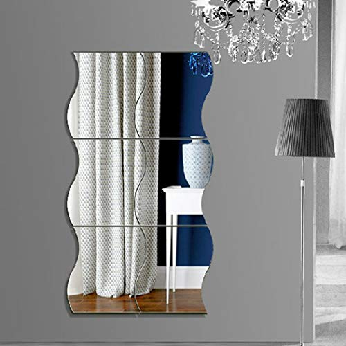 GuGio 3D DIY Removable 6Pcs/Set Mirror Wall Stickers Living Bed Room Home Decoration DIY Art Wave Combination Mirror Wall Stickers Mirror Wall Stickers