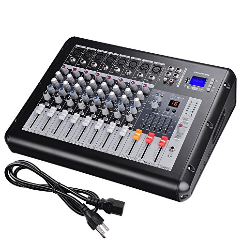"""AW 8 Channel Professional Powered Mixer with USB Slot DJ Power Mixing 110V 16.5""""x13.2""""x5.3"""""""