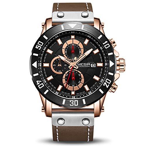 MEGIR Men's Analog Business Quartz Chronograph Luminous Watch with Stylish Black Leather Strap Blue...