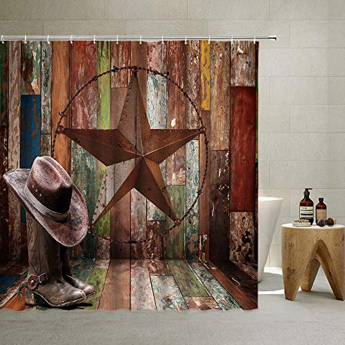 Rustic Shower Curtain Texas Wooden Barn Farmhouse Vintage Horse Whip Horse House Garage Western Rodeo Cowboy Hat Animals Wild Farm ,Polyester Fabric,with Hook (Brown, 70 X 70 Inch)
