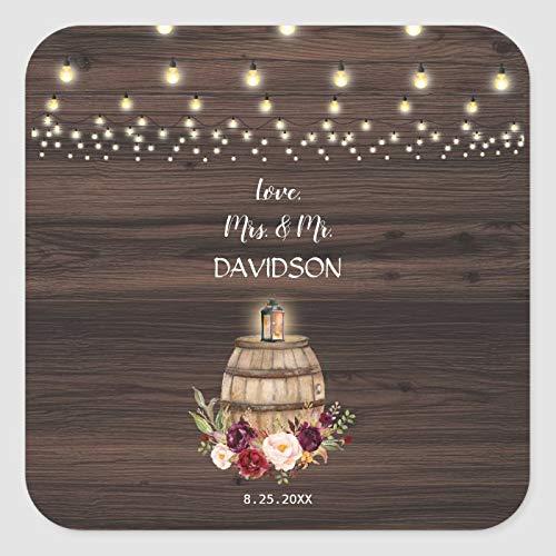 Pegatinas de embalaje de boda personalizadas impermeables otoño burdeos barril de vino floral clásico cuadrado adhesivo para sobres burbuja