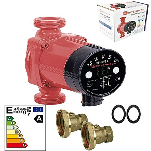 Centrale Verwarming Circulator Pomp RöHTENBACH 25-60/130 voor Verwarming Systeem Vloerverwarming Elektronische Pomp Kogelkranen