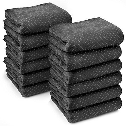 Sure-Max 12 Heavy-Duty Moving & Packing Blankets - Ultra Thick Pro - 80' x 72' (65 lb/dz weight) - Professional Quilted Shipping Furniture Pads Black