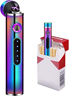 Lighter Plasma Arc Lighter Electronic Lighter USB Electric Lighter Hiking Lighter Rechargeable Lighter Waterproof Windproof Mini Lighter Reusable Outdoor for BBQ Camping Candle