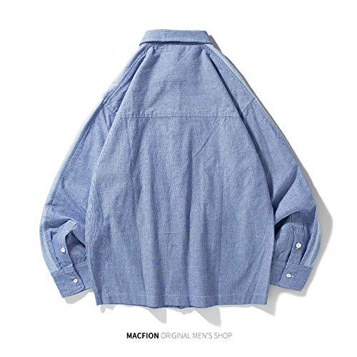 WSDMY Sweatshirt Hemd Hose Stoffjacke Streifen Große Tasche Retro Langarm Shirt Trend Herren Jugend Street Tide Marke Solid Color 170 / M Reserved Color