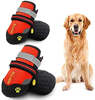 ALLWIN Dog Waterproof Boots - Big Dog Shoes with Reflective Straps Non Skid Rubber Bottom Outdoor Winter Dog Booties for Medium Size and Large Dogs 4PCS (Size 6: 2.6