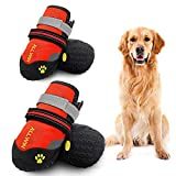 ALLWIN Dog Waterproof Boots - Big Dog Shoes with Reflective Straps Non Skid Rubber Bottom Outdoor Winter Dog Booties for Medium Size and Large Dogs 4PCS (Size 5: 2.4'x2.2'(LW), Orange)