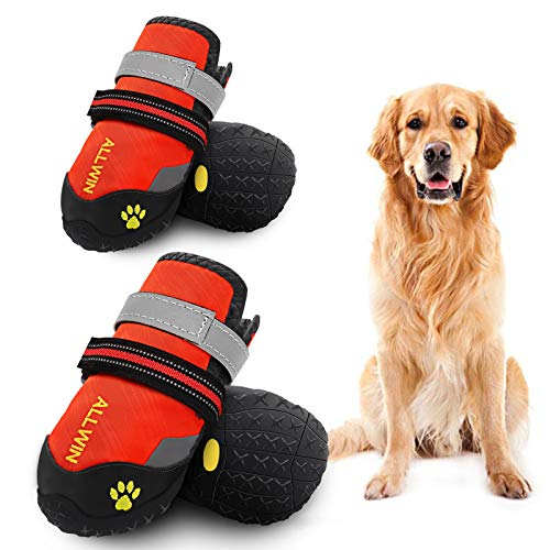 ALLWIN Dog Waterproof Boots - Big Dog Shoes with Reflective Straps Non Skid Rubber Bottom Outdoor...