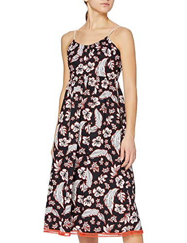 Tommy Hilfiger Damen Petra Dress NS Kleid, Mehrfarbig (Tropical PRT/Black Beauty 086), 36 (6)