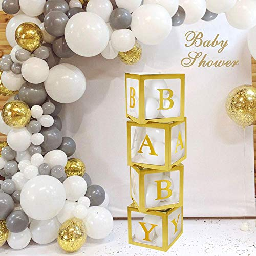 ALITREND Baby Shower Boxes Party Decoration, 4PCS Transparent Balloon Boxes Baby Block Decoration with Letter for Gender Reveal Party Boys Girls (Goud)