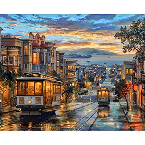 CRYUN Street City 5D DIY diamante bordado redondo diamante pintura tranvía paisaje decoración del hogar mosaico imagen 30 x 40 cm