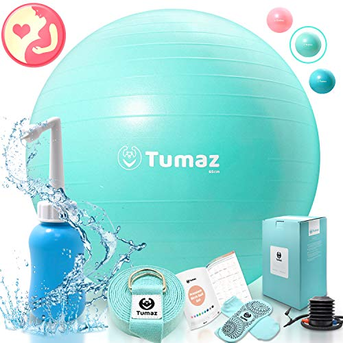 Tumaz Birth Ball Including Birthing Ball/Peri Bottle/Yoga Strap/NonSlip Socks  Premium Birth Ball Set with Quick Foot Pump amp Instruction Poster The Perfect AllinOne Gift for Mom
