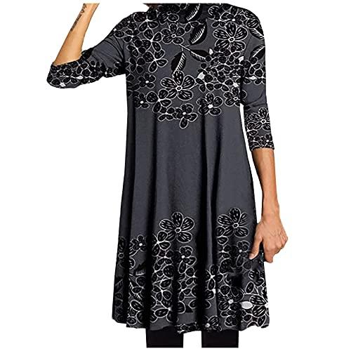 Vestidos de Mujer Largo Casual Vestido Suelto Floral Otoño/Invierno Manga Larga Elegante con Cuello Medio Alto Vestido (Negro, 3XL)