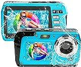 Unterwasserkamera Full HD 4K 56MP Unterwasser Kamera zum Schnorcheln wasserdichte Digitalkamera mit Zwei Bildschirmen Selbstauslöser und 18X Digitalzoom (Blau)