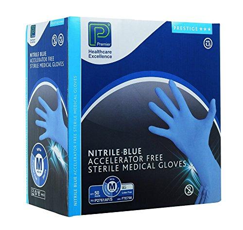 Premier Prestige Accelerator Free Nitrile Examination Gloves - Sterile - Blue - Size: Medium - Pack: 50 Pairs (Ref P2761AF/S)