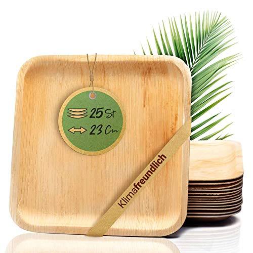 palmenwald© 25 Stück kompostierbare Einwegteller | Teller aus Palmblatt- Größe ca. 23m - robuste & stabile ALTERNATIVE zu Plastikgeschirr | Einweggeschirr Partygeschirrr Wegwerfgeschirr