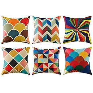 Topfinel Colorido geométrico algodón Lino Fundas de cojín para sofá Almohadas Home Decorativo Juego de 6, 45x45cm,Serie   DeHippies.com