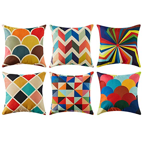 Topfinel Colorful Geometric Cushion Cover 18 x 18 Inch Cotton Linen Home Decorative Square for Sofa Throw Pillow Case, 45cm x 45cm Pop Art Series 6 Pack